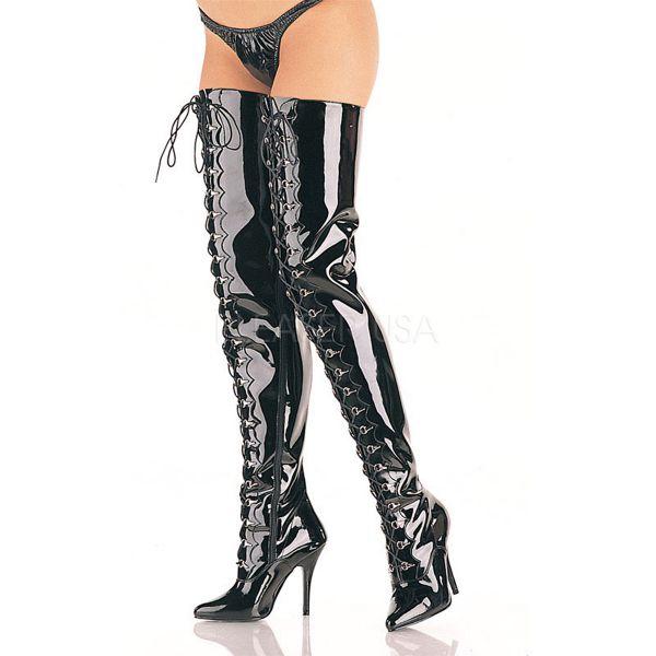 Crotch Overknee Stiefel SEDUCE-4026 Lack schwarz mit Schnürung